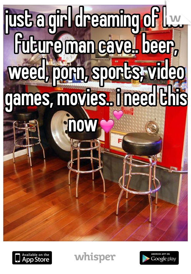 just a girl dreaming of her future man cave.. beer, weed, porn, sports, video games, movies.. i need this now💕
