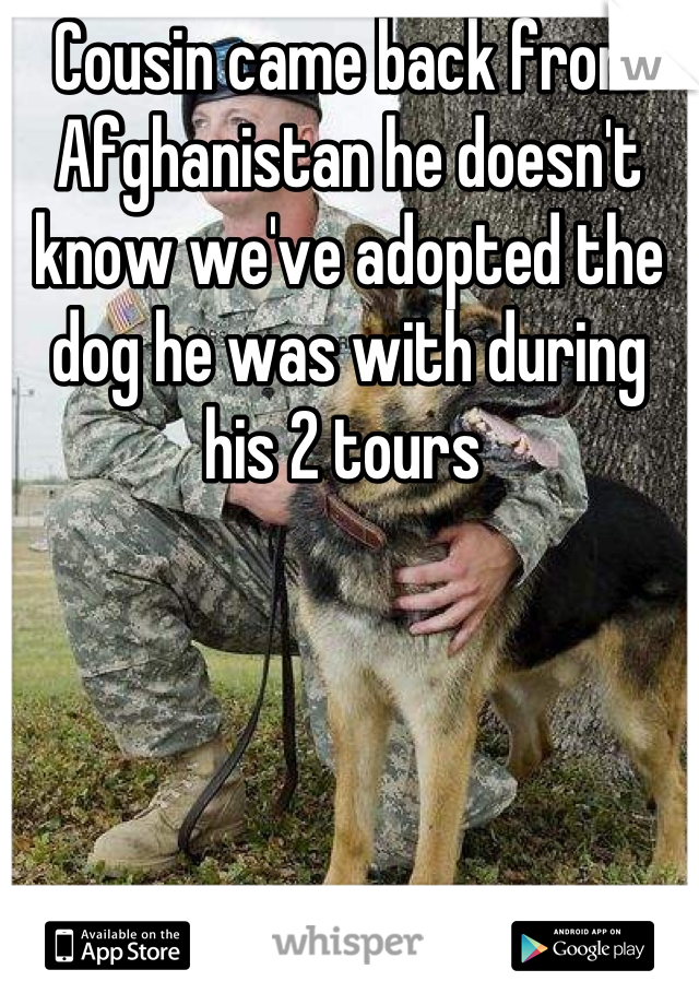 Cousin came back from Afghanistan he doesn't know we've adopted the dog he was with during his 2 tours