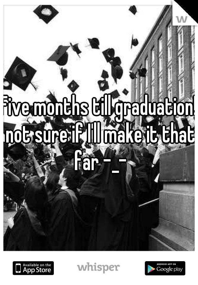 Five months till graduation! not sure if I'll make it that far -_-