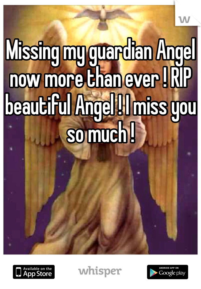 Missing my guardian Angel now more than ever ! RIP beautiful Angel ! I miss you so much !