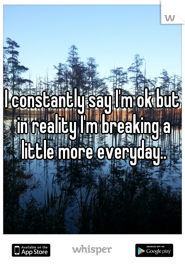 I constantly say I'm ok but in reality I'm breaking a little more everyday..