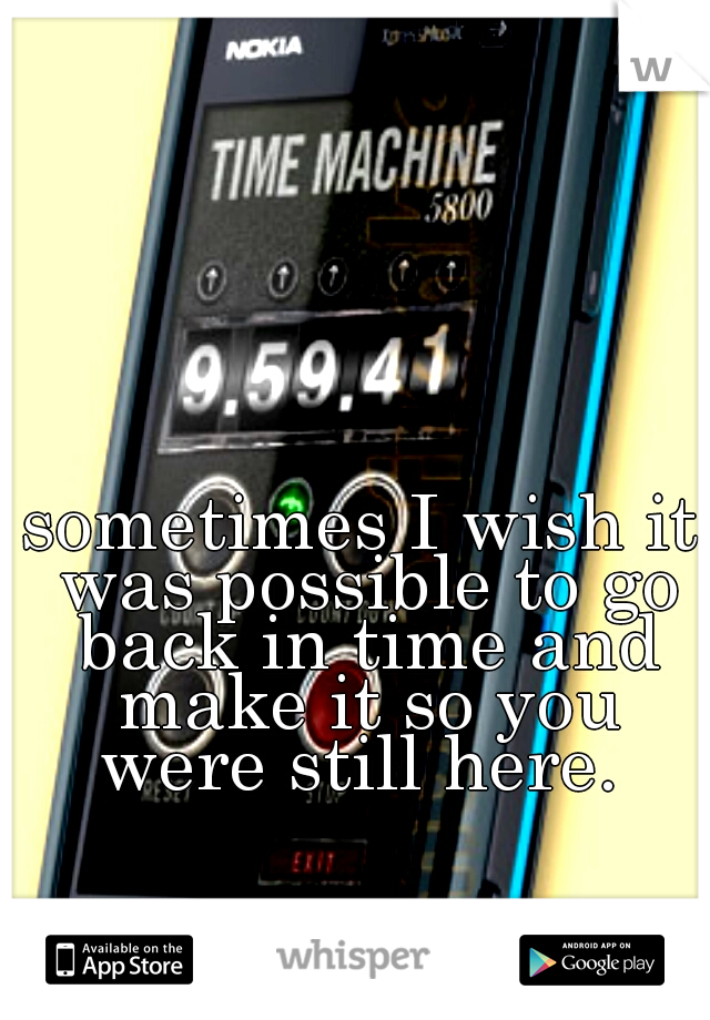 sometimes I wish it was possible to go back in time and make it so you were still here.