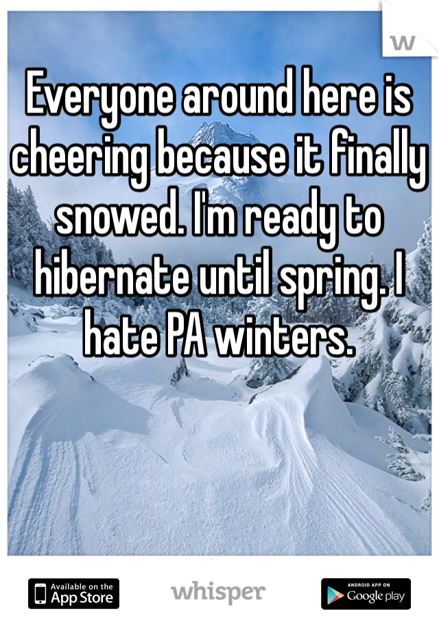 Everyone around here is cheering because it finally snowed. I'm ready to hibernate until spring. I hate PA winters.