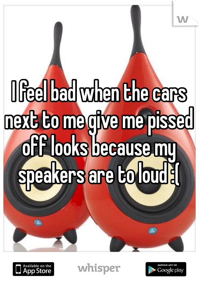 I feel bad when the cars next to me give me pissed off looks because my speakers are to loud :(