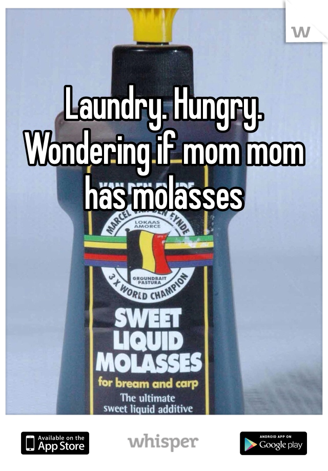 Laundry. Hungry. Wondering if mom mom has molasses
