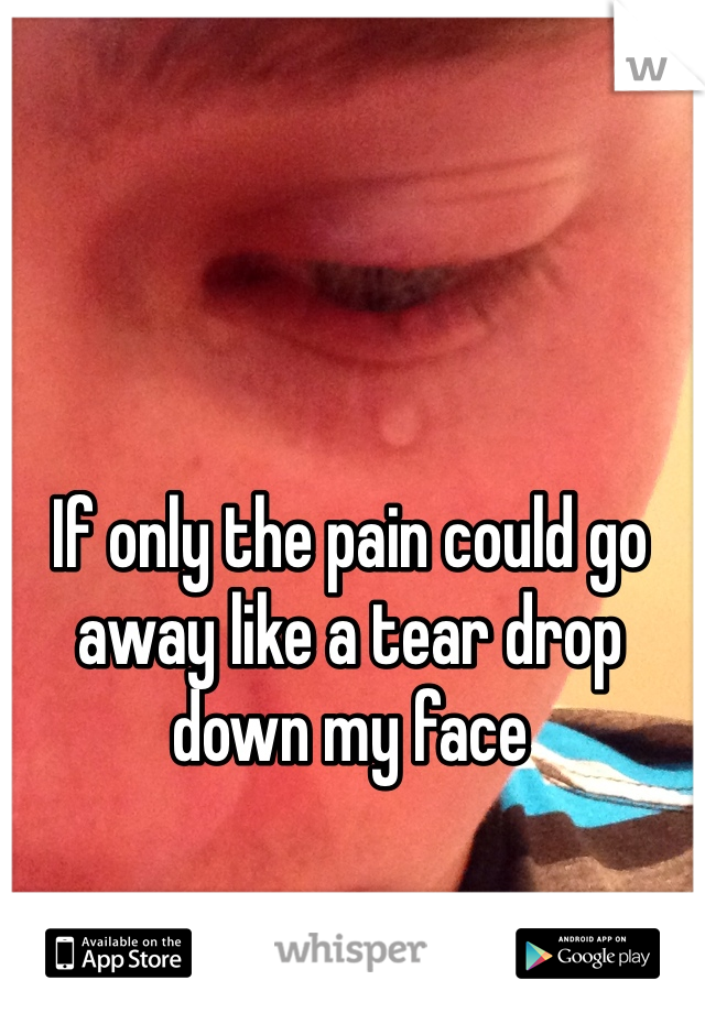 If only the pain could go away like a tear drop down my face