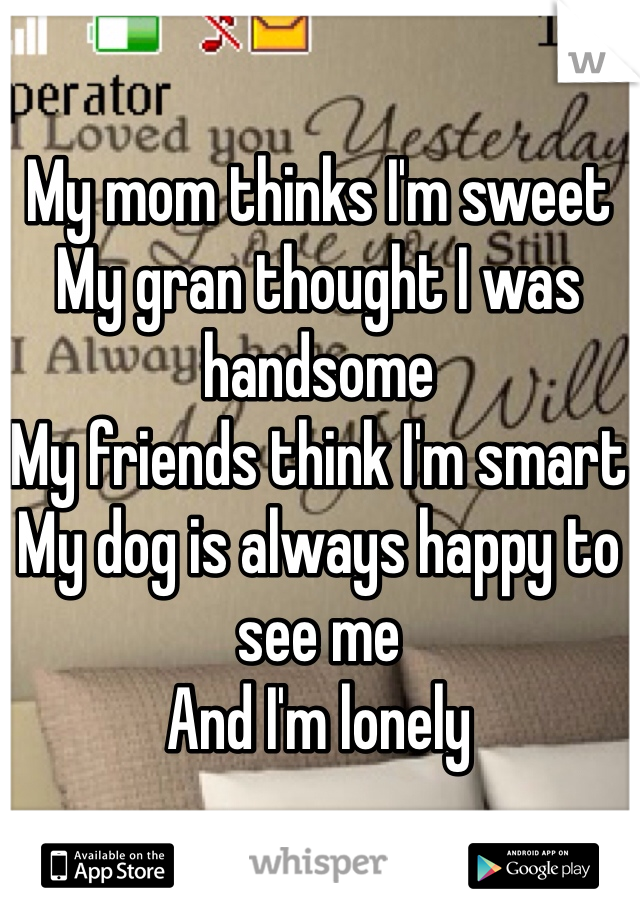 My mom thinks I'm sweet My gran thought I was handsome My friends think I'm smart My dog is always happy to see me And I'm lonely
