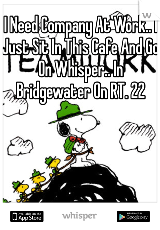 I Need Company At Work.. I Just Sit In This Cafe And Go On Whisper.. In Bridgewater On RT. 22