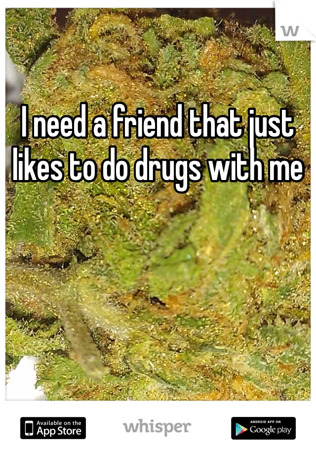 I need a friend that just likes to do drugs with me