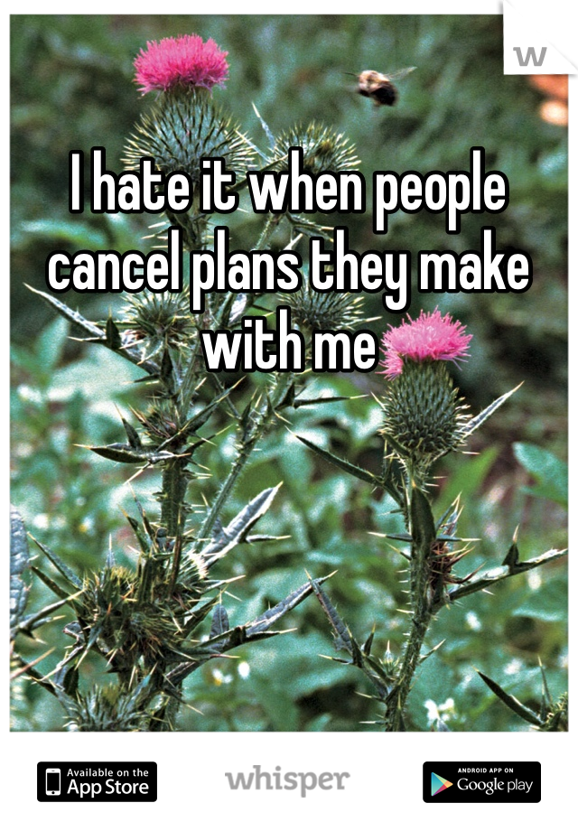 I hate it when people cancel plans they make with me