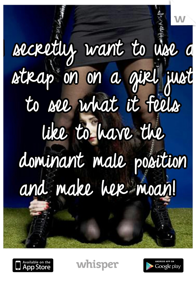 I secretly want to use a strap on on a girl just to see what it feels like to have the dominant male position and make her moan!
