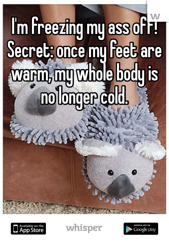 I'm freezing my ass off! Secret: once my feet are warm, my whole body is no longer cold.