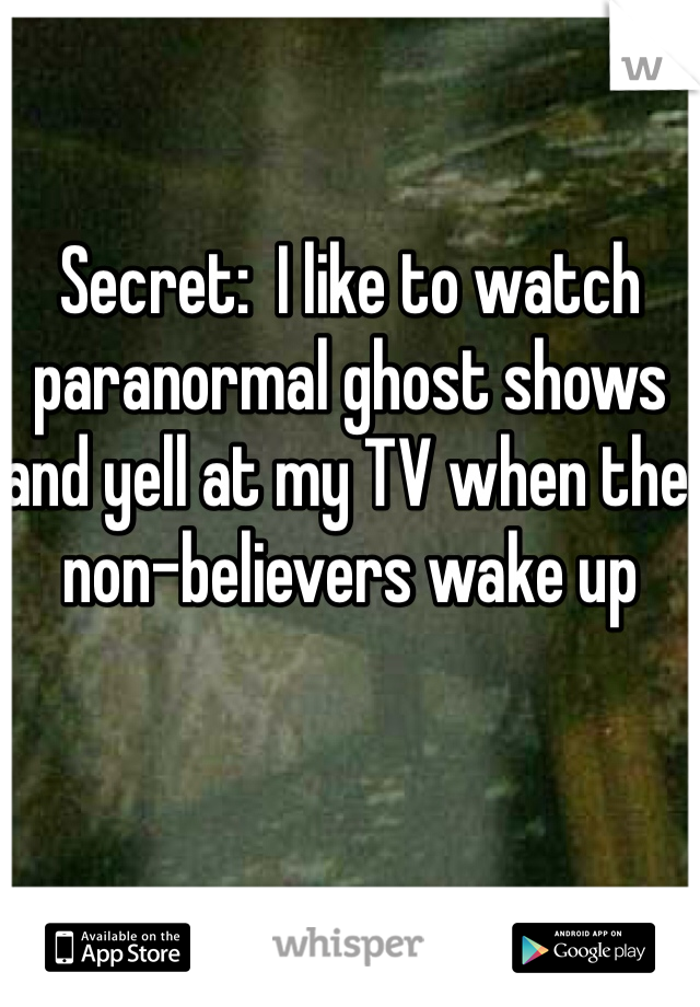 Secret:  I like to watch paranormal ghost shows and yell at my TV when the non-believers wake up