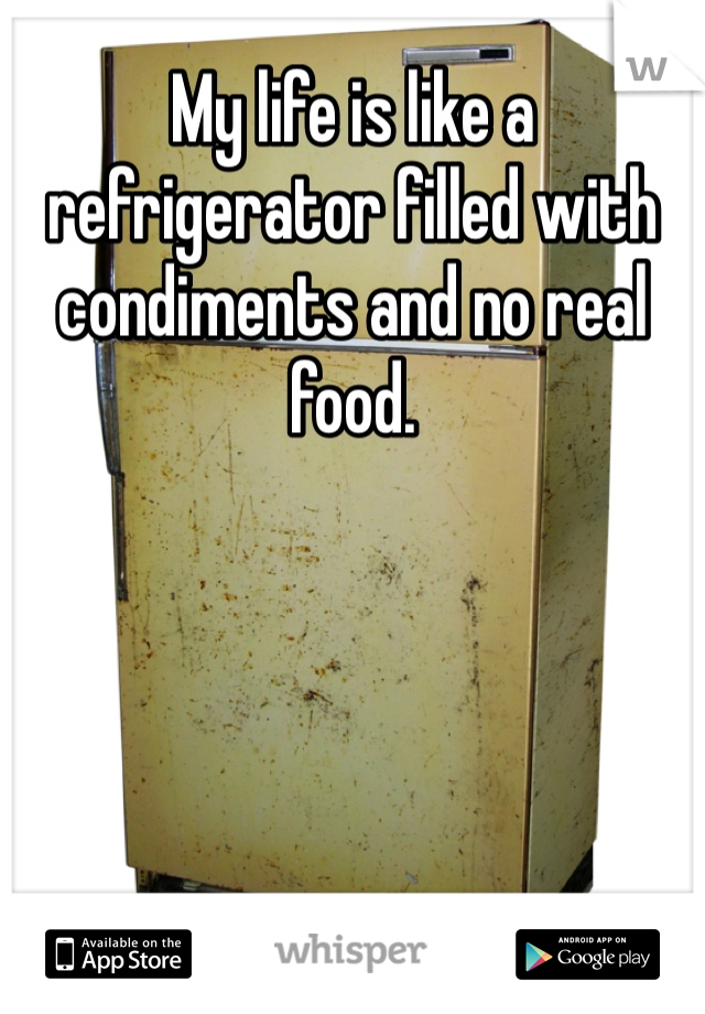 My life is like a refrigerator filled with condiments and no real food.