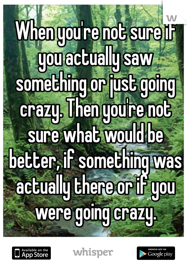 When you're not sure if you actually saw something or just going crazy. Then you're not sure what would be better, if something was actually there or if you were going crazy.