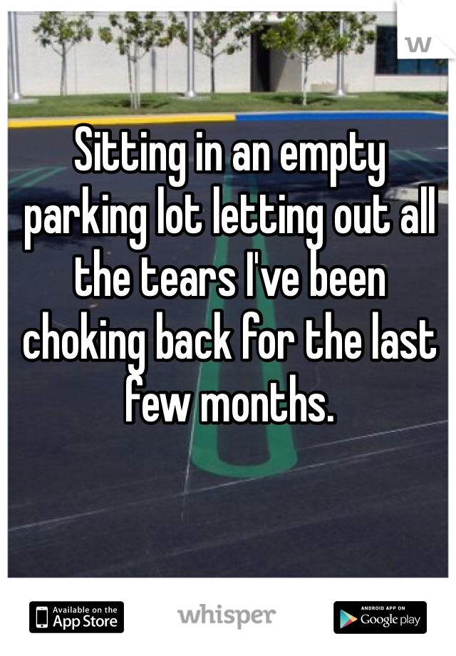 Sitting in an empty parking lot letting out all the tears I've been choking back for the last few months.