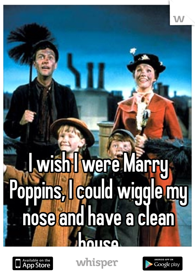I wish I were Marry Poppins, I could wiggle my nose and have a clean house