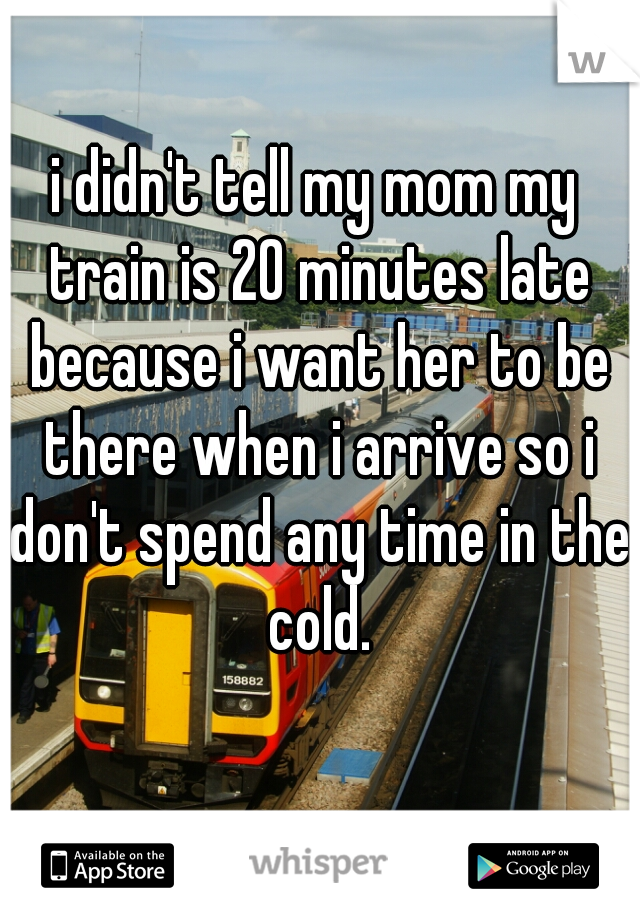 i didn't tell my mom my train is 20 minutes late because i want her to be there when i arrive so i don't spend any time in the cold.