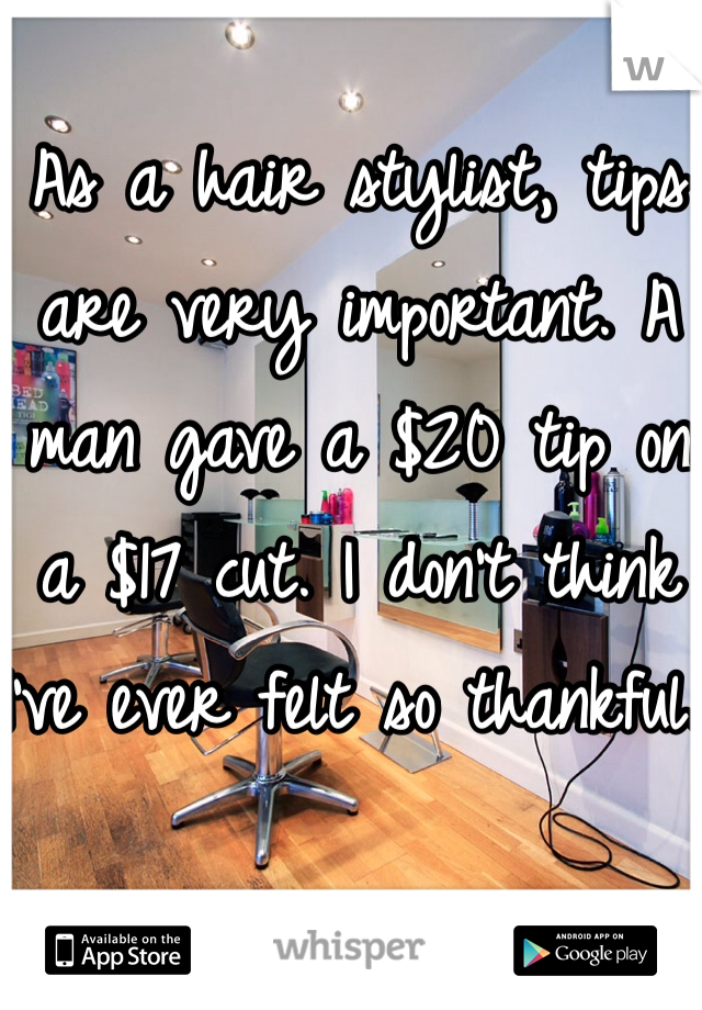 As a hair stylist, tips are very important. A man gave a $20 tip on a $17 cut. I don't think I've ever felt so thankful.