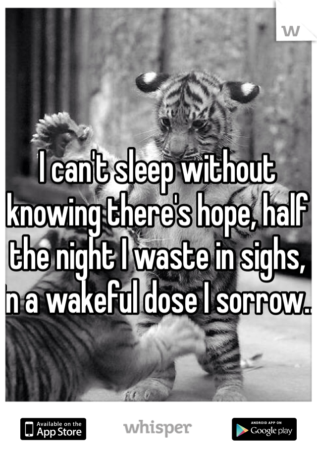 I can't sleep without knowing there's hope, half the night I waste in sighs, in a wakeful dose I sorrow..