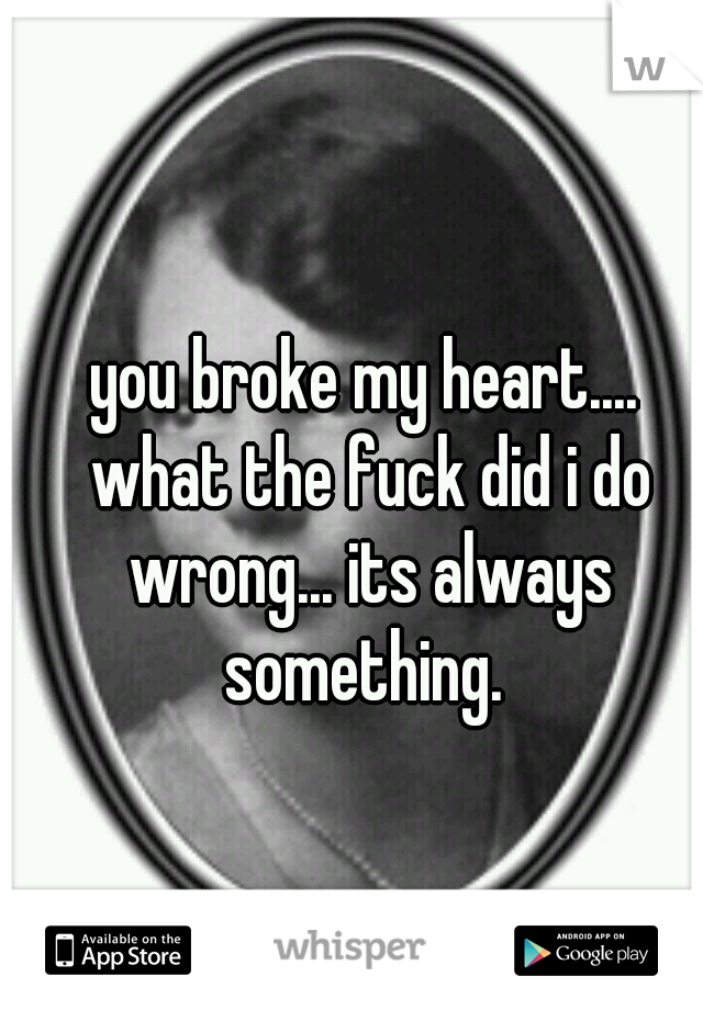 you broke my heart.... what the fuck did i do wrong... its always something.