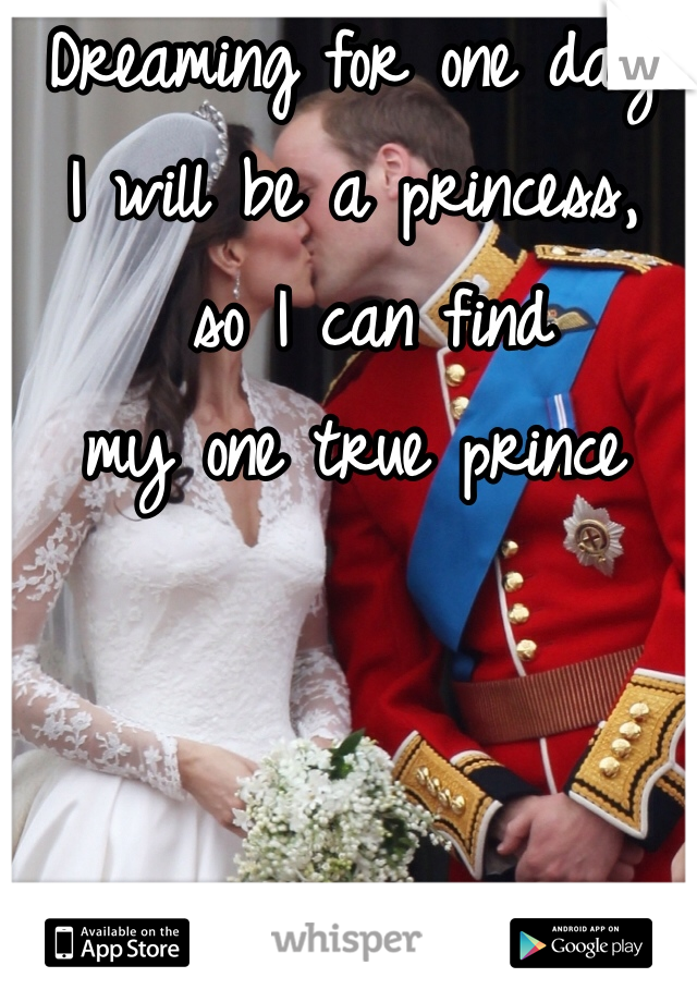Dreaming for one day  I will be a princess,  so I can find  my one true prince