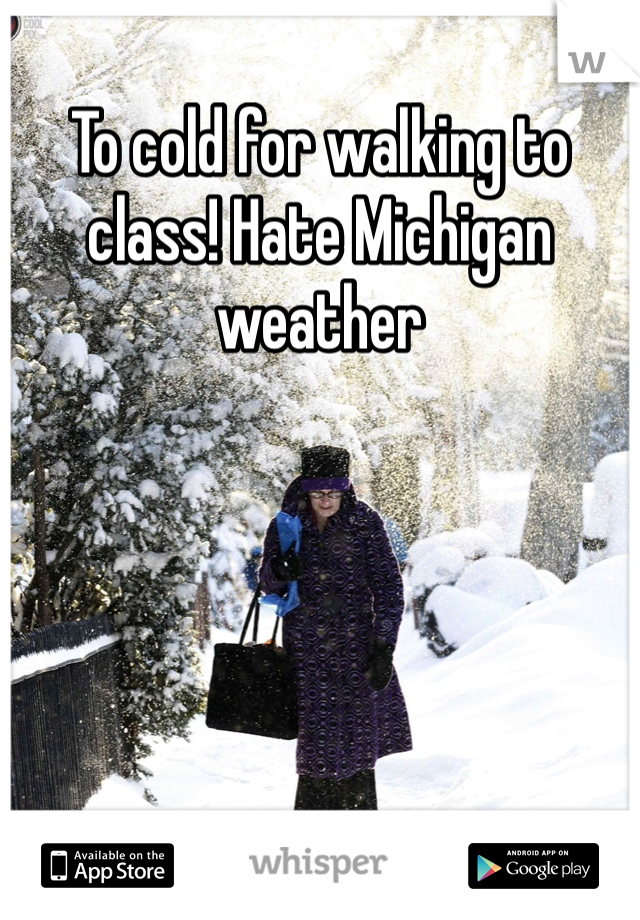 To cold for walking to class! Hate Michigan weather