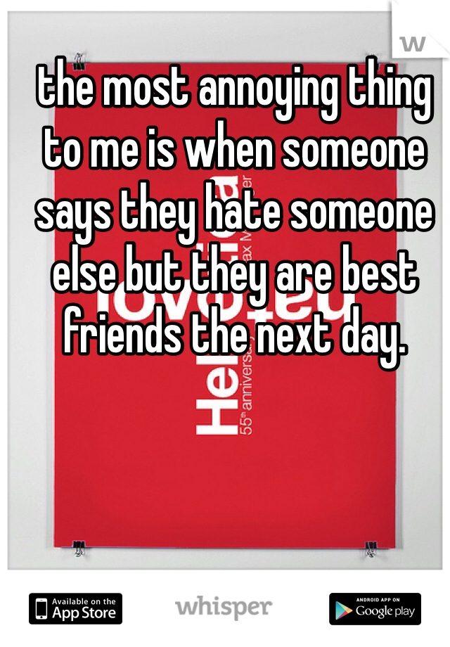 the most annoying thing to me is when someone says they hate someone else but they are best friends the next day.