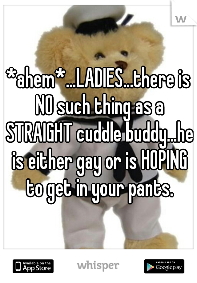 *ahem*...LADIES...there is NO such thing as a STRAIGHT cuddle buddy...he is either gay or is HOPING to get in your pants.
