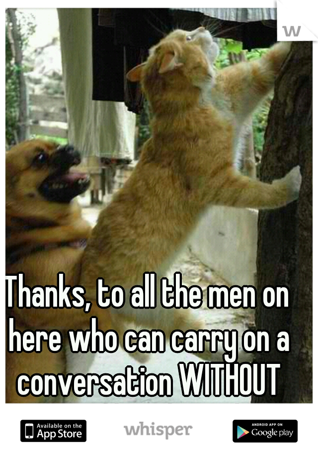 Thanks, to all the men on here who can carry on a conversation WITHOUT talking like a horn dog!