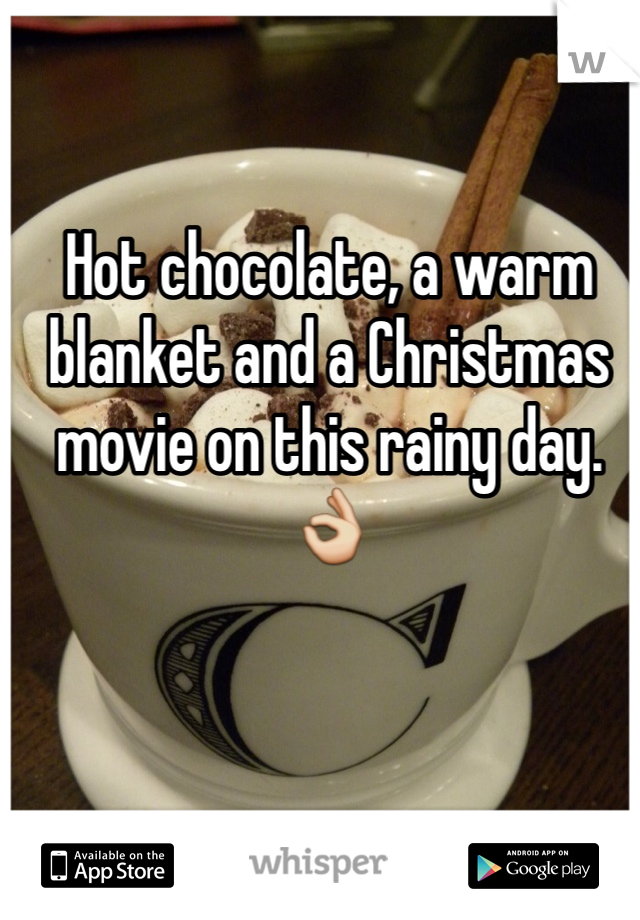 Hot chocolate, a warm blanket and a Christmas movie on this rainy day. 👌