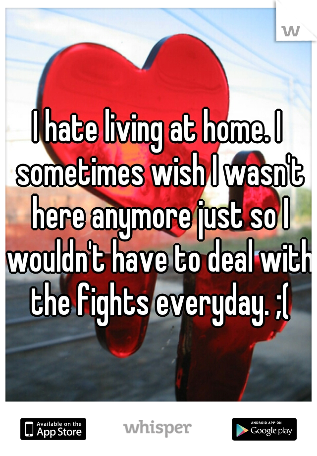 I hate living at home. I sometimes wish I wasn't here anymore just so I wouldn't have to deal with the fights everyday. ;(