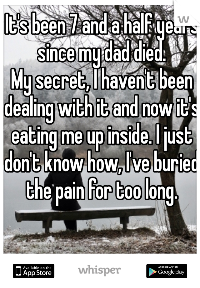 It's been 7 and a half years since my dad died.  My secret, I haven't been dealing with it and now it's eating me up inside. I just don't know how, I've buried the pain for too long.