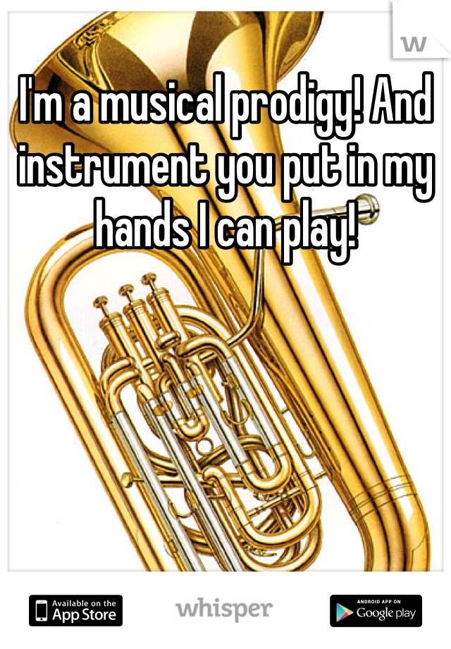 I'm a musical prodigy! And instrument you put in my hands I can play!