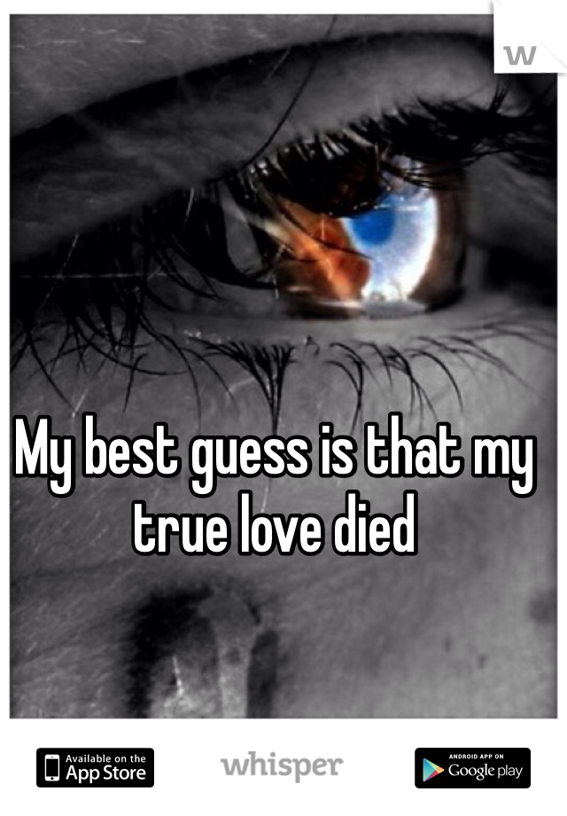 My best guess is that my true love died