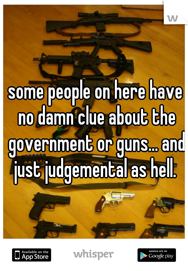 some people on here have no damn clue about the government or guns... and just judgemental as hell.