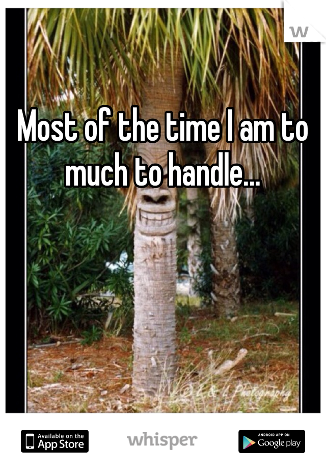 Most of the time I am to much to handle...
