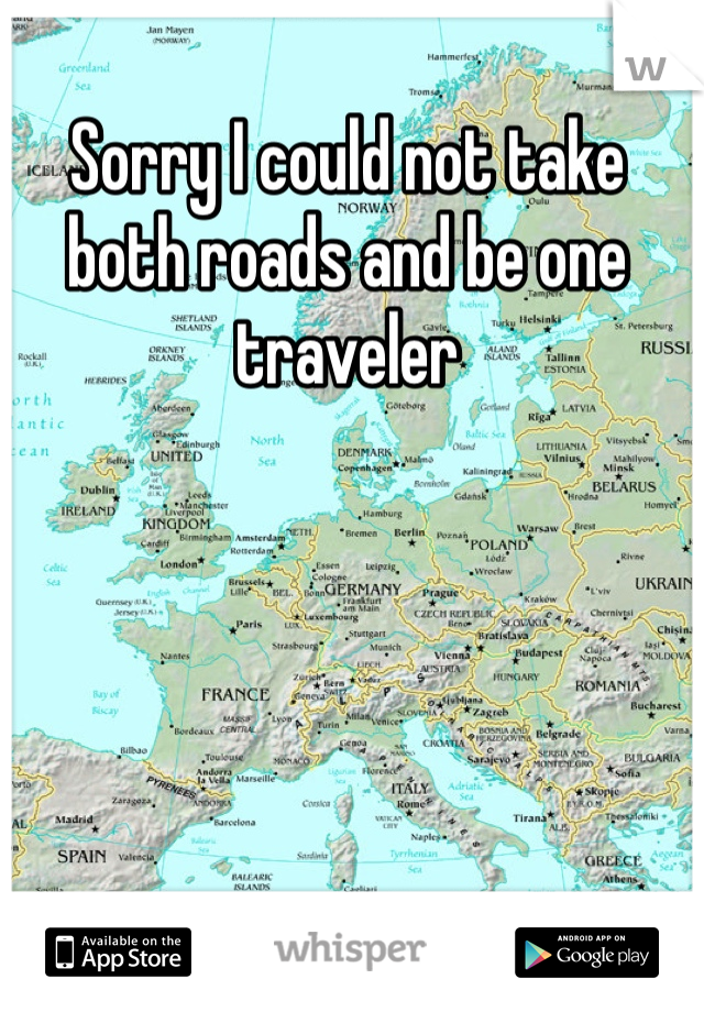Sorry I could not take both roads and be one traveler