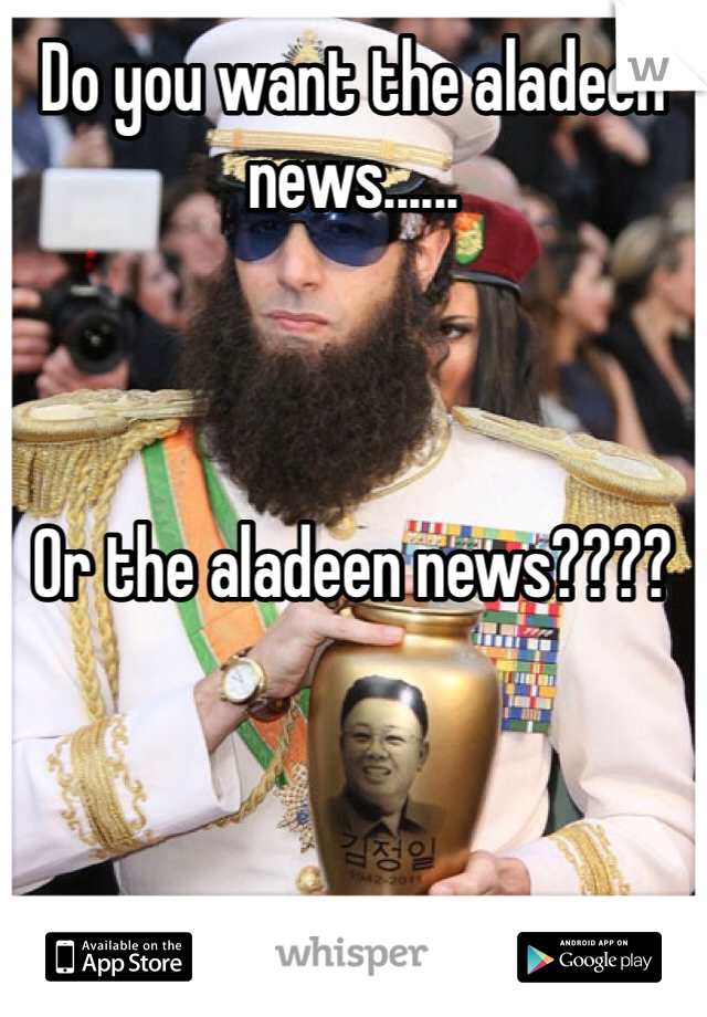 Do you want the aladeen news......    Or the aladeen news????
