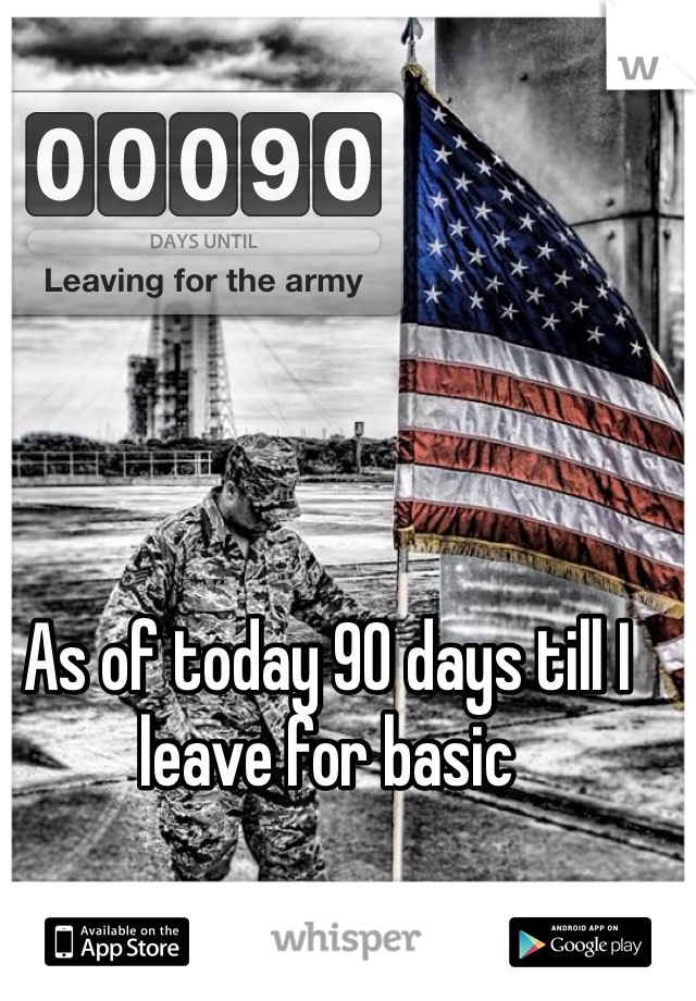 As of today 90 days till I leave for basic