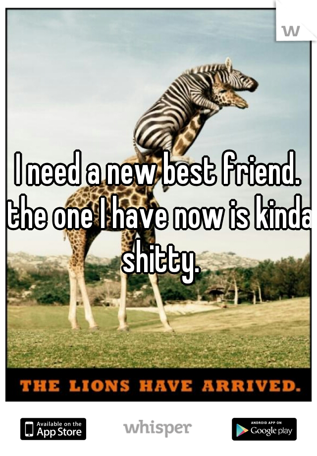 I need a new best friend. the one I have now is kinda shitty.