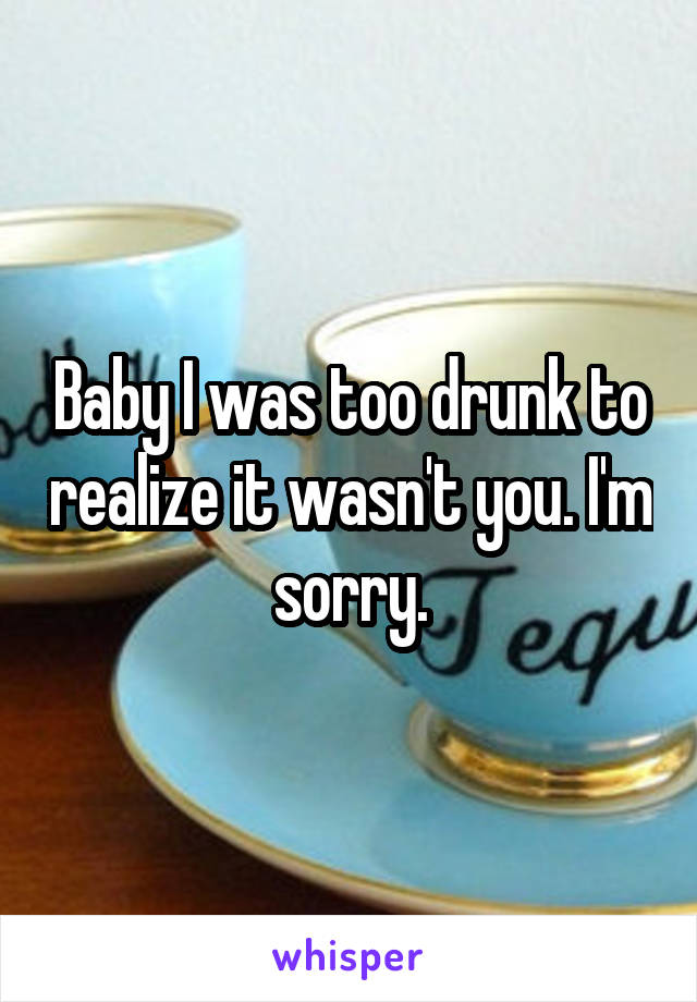 Baby I was too drunk to realize it wasn't you. I'm sorry.