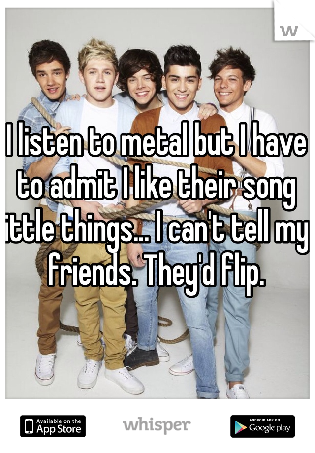 I listen to metal but I have to admit I like their song little things... I can't tell my friends. They'd flip.