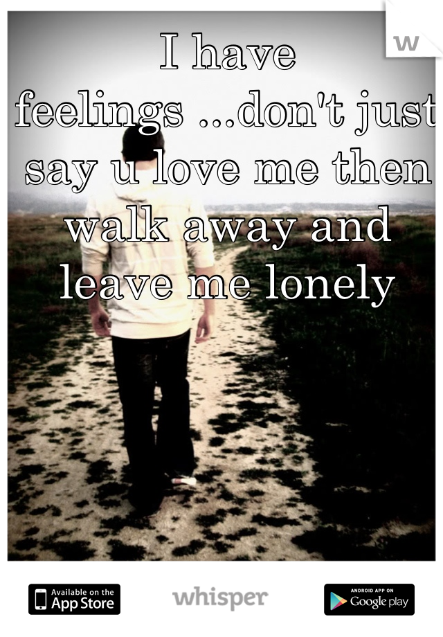 I have feelings ...don't just say u love me then walk away and leave me lonely