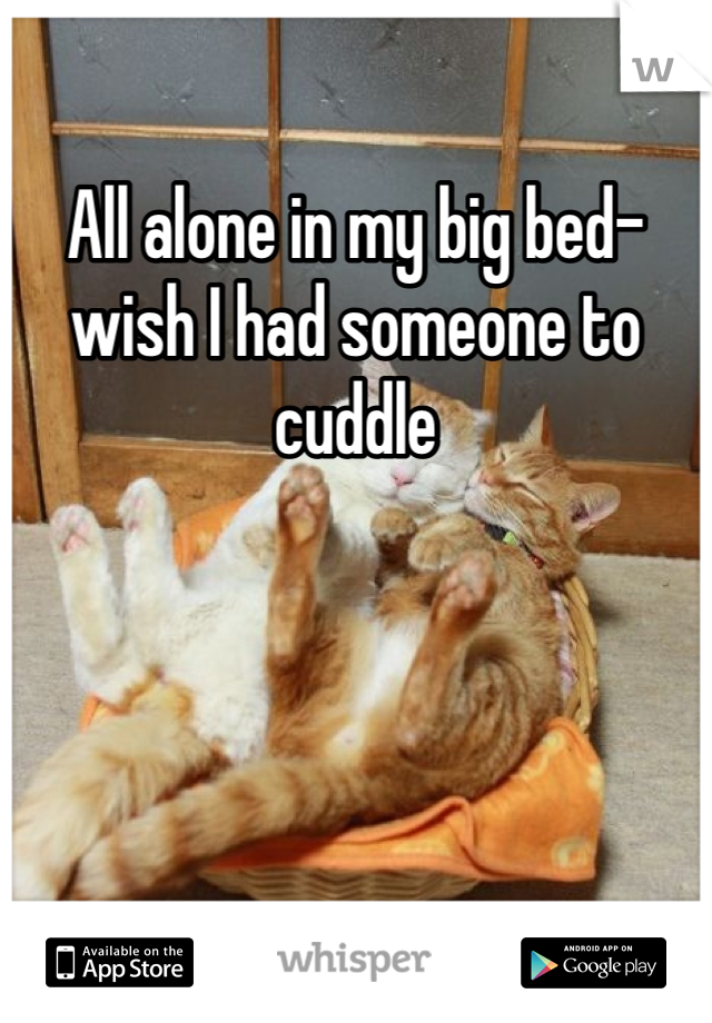 All alone in my big bed- wish I had someone to cuddle