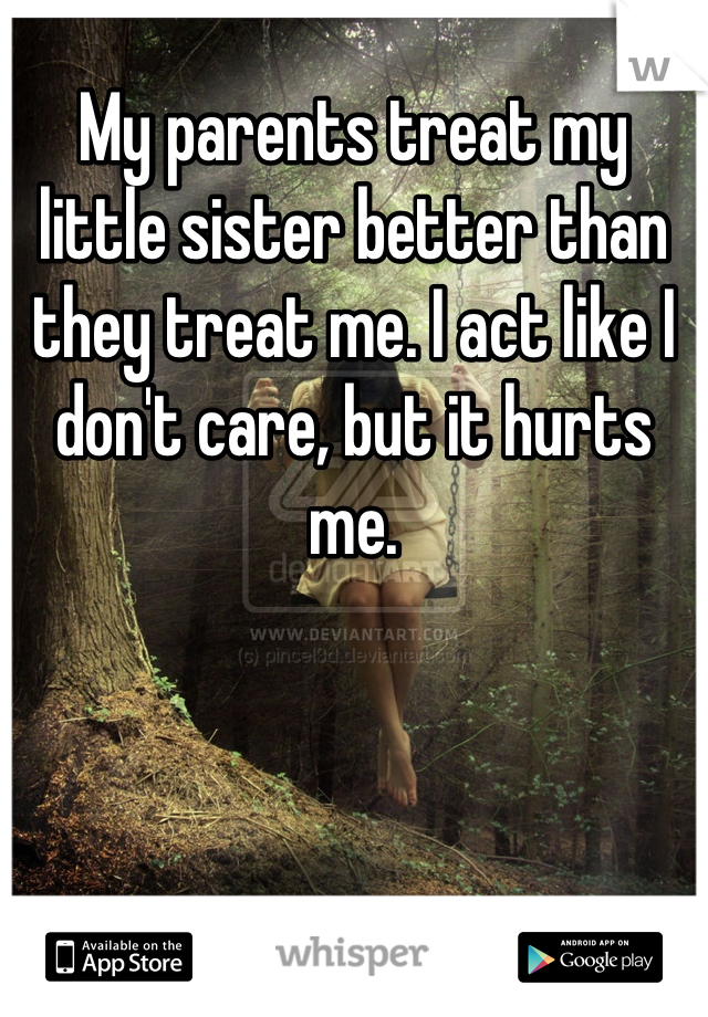 My parents treat my little sister better than they treat me. I act like I don't care, but it hurts me.