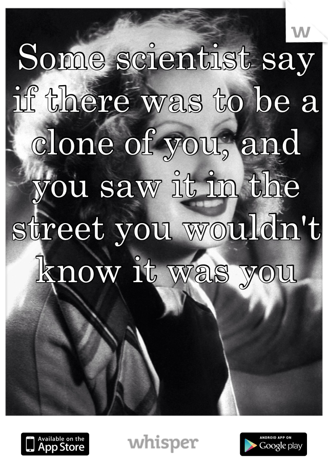 Some scientist say if there was to be a clone of you, and you saw it in the street you wouldn't know it was you