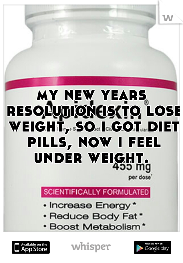 my new years resolution is to lose weight, so i got diet pills, now i feel under weight.