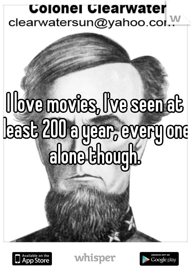 I love movies, I've seen at least 200 a year, every one alone though.