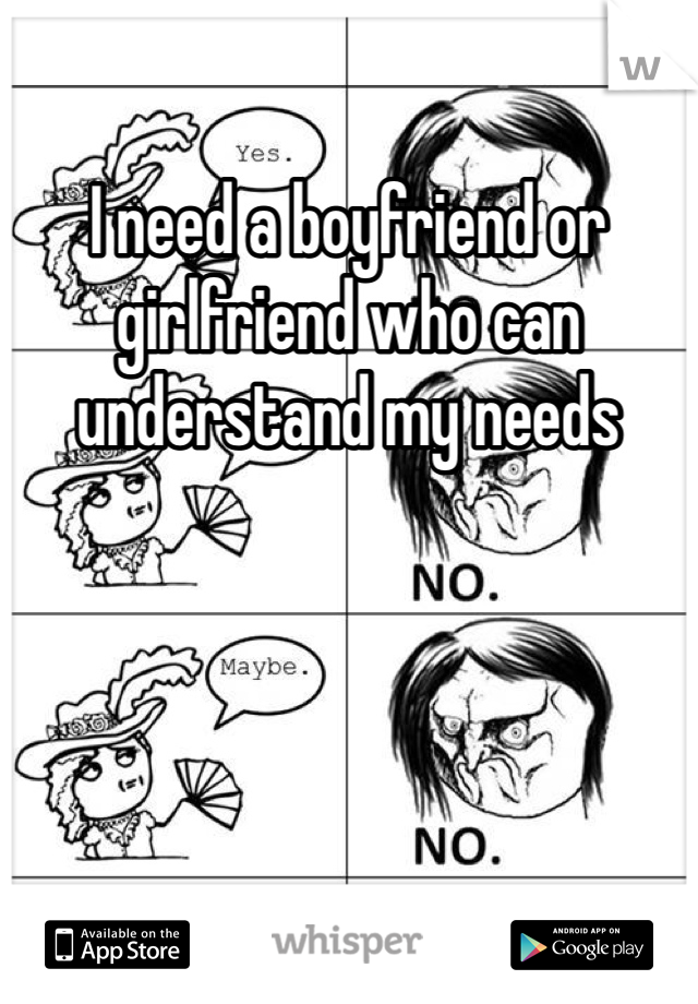 I need a boyfriend or girlfriend who can understand my needs